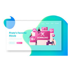 Illegal content free download landing page vector
