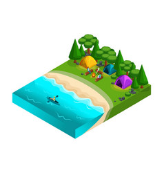 isometric landscape rests on the river friends o vector image