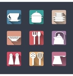 Kitchen icons Flat set long shadows vector