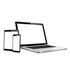 laptop tablet phone mock up responsive web design vector image