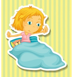 Little girl in bed waking up vector image