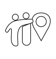location commitment teamwork together outline logo vector image