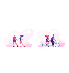 loving couple spend time together cycling on bike vector image