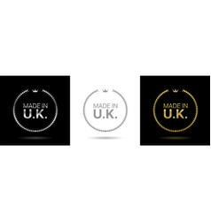 made in united kingdom wreath icons vector image