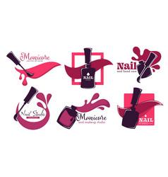 Manicure studio or nail salon service isolated vector