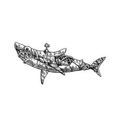 mechanical fish hand drawn vector image