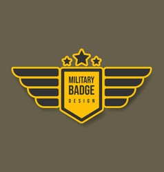 military badge design with wings and stars army vector image