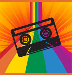 music tape silhouette on rainbow striped vector image