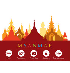 Myanmar landmarks skyline with accommodation icons vector