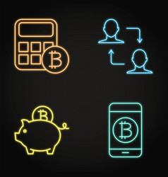 neon icons set cryptocurrency transaction vector image