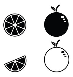 orange fruit icon set vector image
