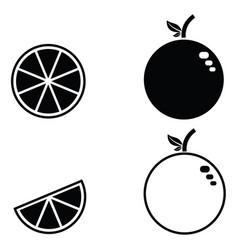 Orange fruit icon set vector
