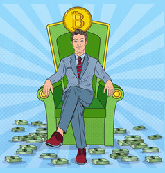 Pop art successful businessman sitting on throne vector