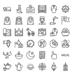ramadan related icon set line style vector image