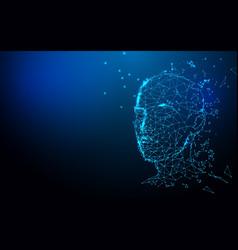 realistic 3d man head polygonal skin background vector image