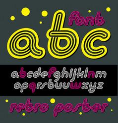 Retro lowercase english alphabet letters abc vector