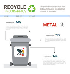Rubbish container for metal waste infographic vector