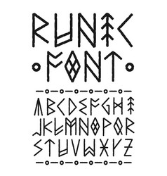 Runic hand drawn font ink brush vector