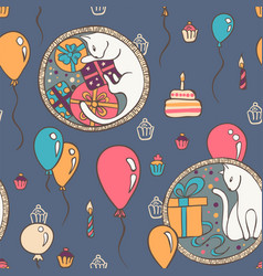 Seamless pattern with cats and birthday vector
