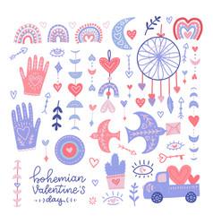 set bohemian valentine s day hand drawn vector image
