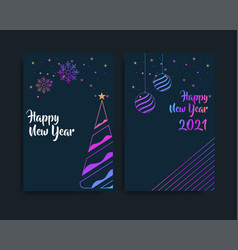Set card merry christmas and happy new year vector