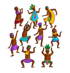 Set colorful african tribe people dancing in vector