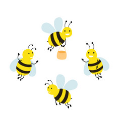 Set funny cartoon bees vector