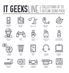 set it geeks gadgets devices thin line icons vector image