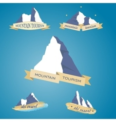 Set mountains symbol with ribbon vector image