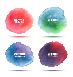 Set of bright colorful watercolor circle stains vector