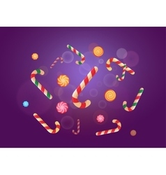 Set of Christmas candy stickers on the violet vector image
