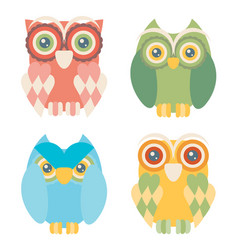 Set of four owls isolated on white background vector