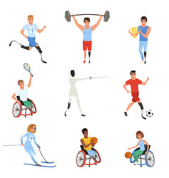 Set of paralympics athletes with physical vector