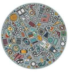 Set of Photo studio cartoon doodle objects vector image
