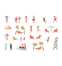 set people on beach vector image