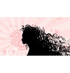 Silhouette of woman head with music hair stock vector
