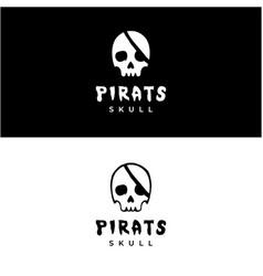 Skull skeleton for pirates emblem logo design vector
