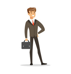 smiling successful businessman with briefcase vector image