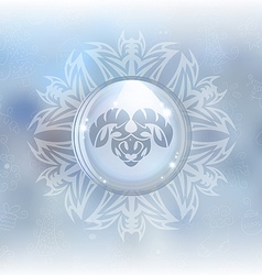 Snow globe with zodiac sign aries vector