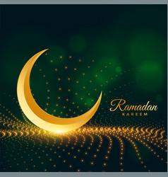 Sparkling ramadan kareem islamic card design vector