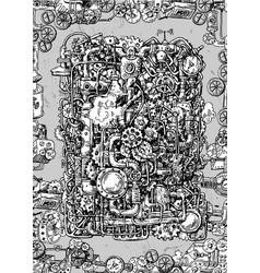 steampunk style hand drawn mechanism vector image