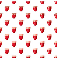 Strawberry jam glass jar pattern vector