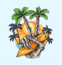 summer design hand skull coconut tree finger vector image