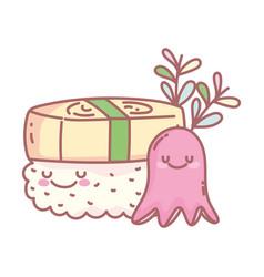 Sushi and octopus character menu restaurant food vector