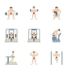 Training in gym icons set cartoon style vector