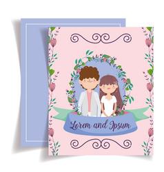 wedding couple flower foliage floral decoration vector image