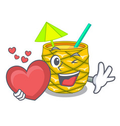 with heart pineapple fruit juice on character vector image