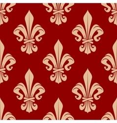 Beige and red seamless fleur-de-lis pattern vector