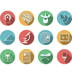 Colored icons for neurosurgery vector image