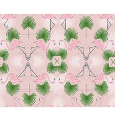 Cute hipster seamless pattern with flamingos vector